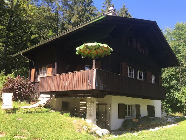 Traditional swiss wooden chalet, built in 1966.