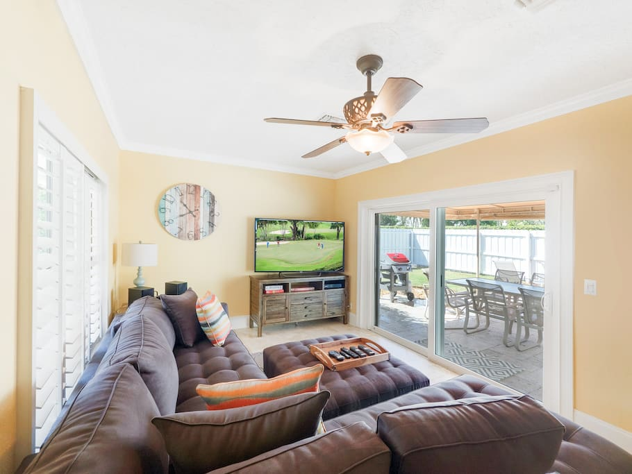 Spend time together in the family room with a large sectional sofa.