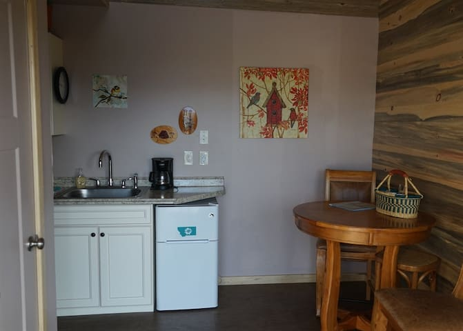 This shows the living space when you first walk in. The dining room is right here and the mini kitchen is  to the left.