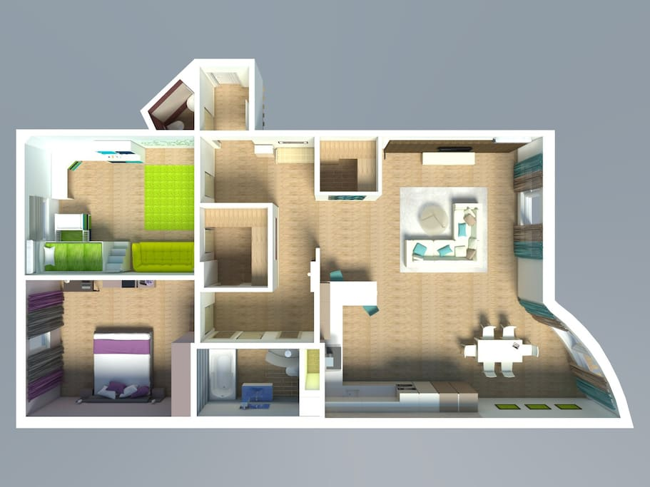 The apartment has a very comfortable layout