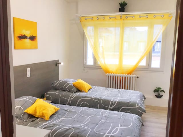 Chambre twin climatisée avec télévision à écran plat et wifi gratuit//Air-conditioned twin room with flat screen TV and free wifi.