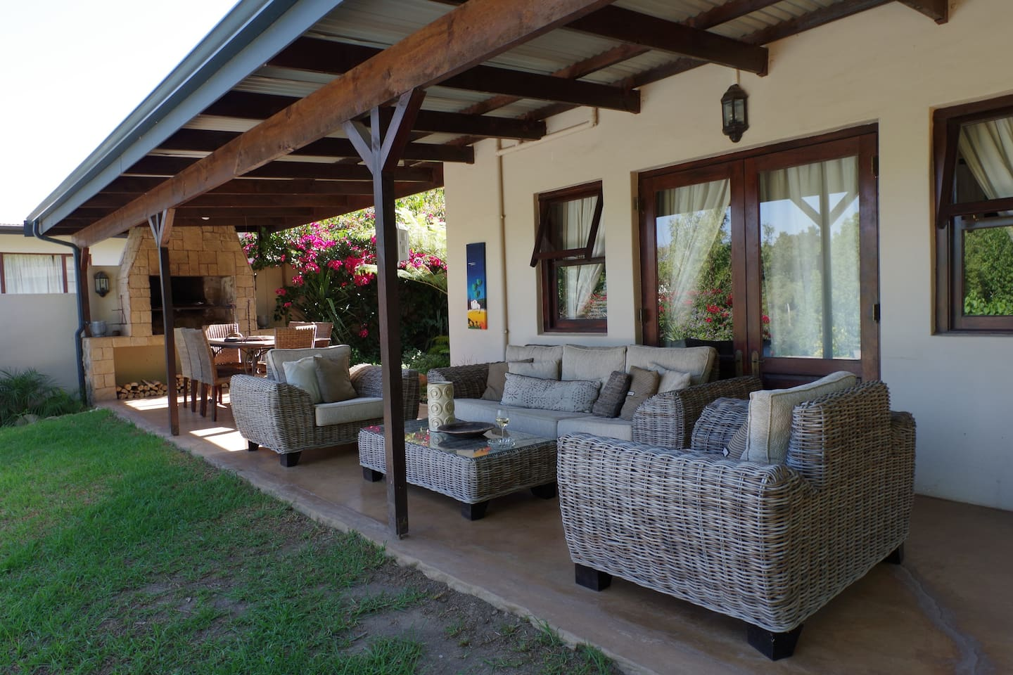 Undercover patio with built in braai facilities and beautiful views