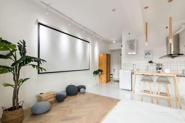 ·【简宿•原木】  中山广场/高层海景/北欧极简度假公寓