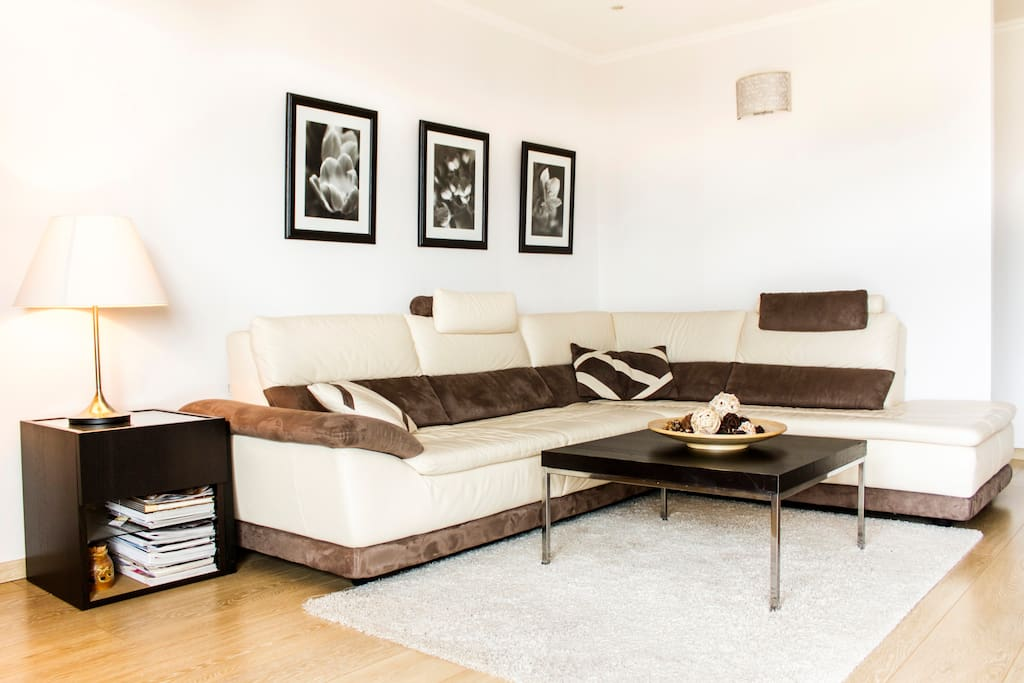 Large living room with leather sofa, flat screen TV, access to terrace