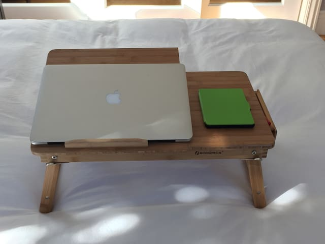 Bamboo labtop table for your comfort to work in bed or outdoors