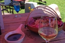 Enjoying wine and cheese Stone Crop Acres Winery