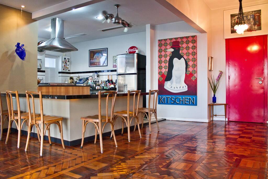 living room with kitchen =big loft