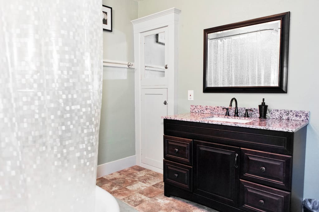 Full bathroom, freshly remodeled.
