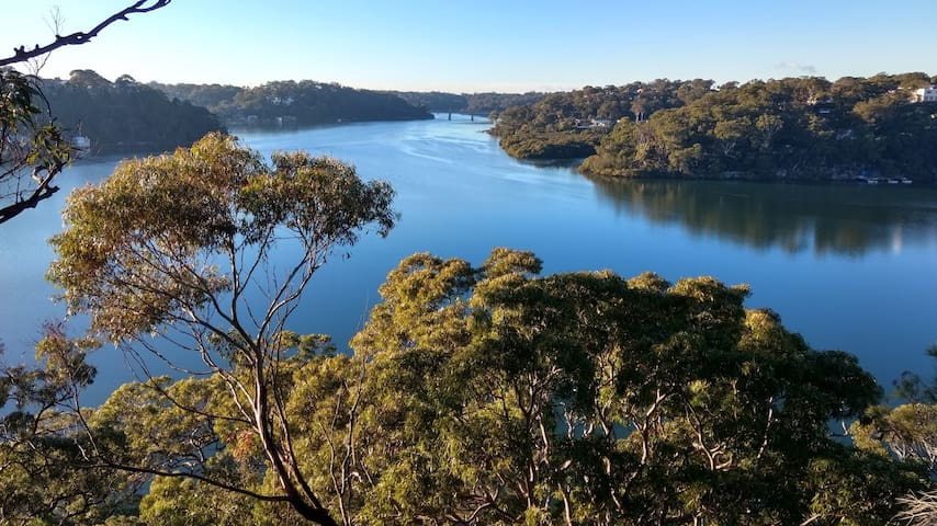 Viewed from Oatley Park nearby, the Georges River and the railway and pedestrian bridge