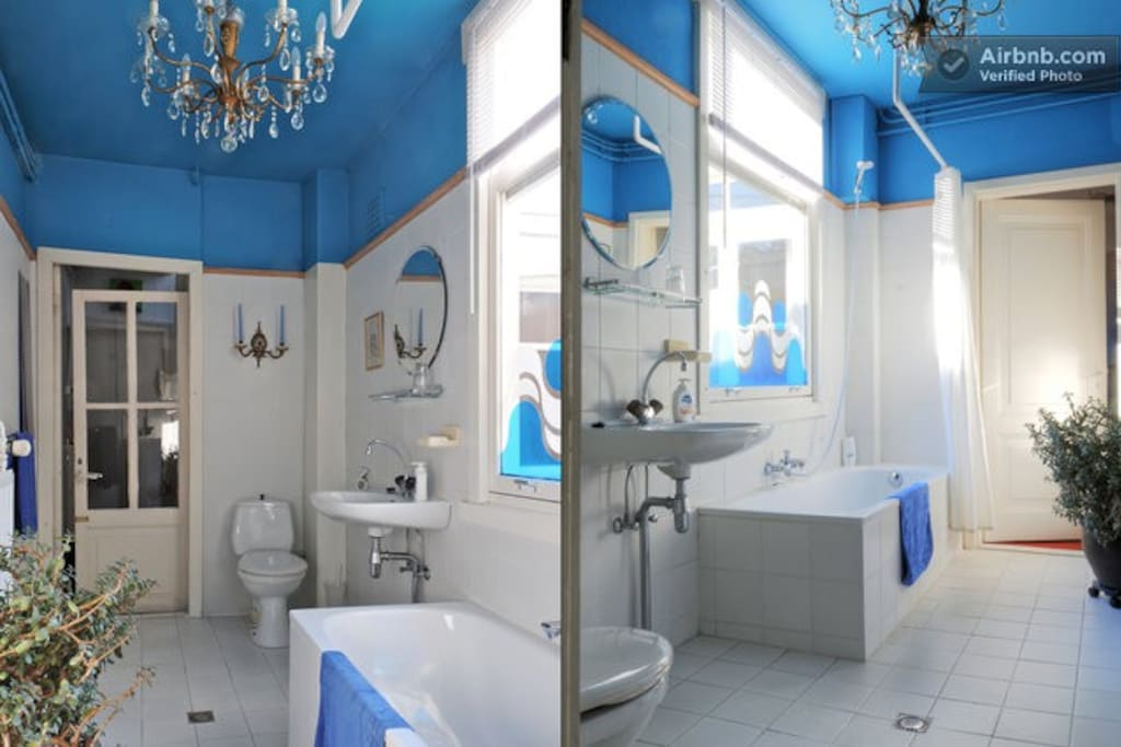 Your private bathroom with bath and shower, fresh towels and daylight