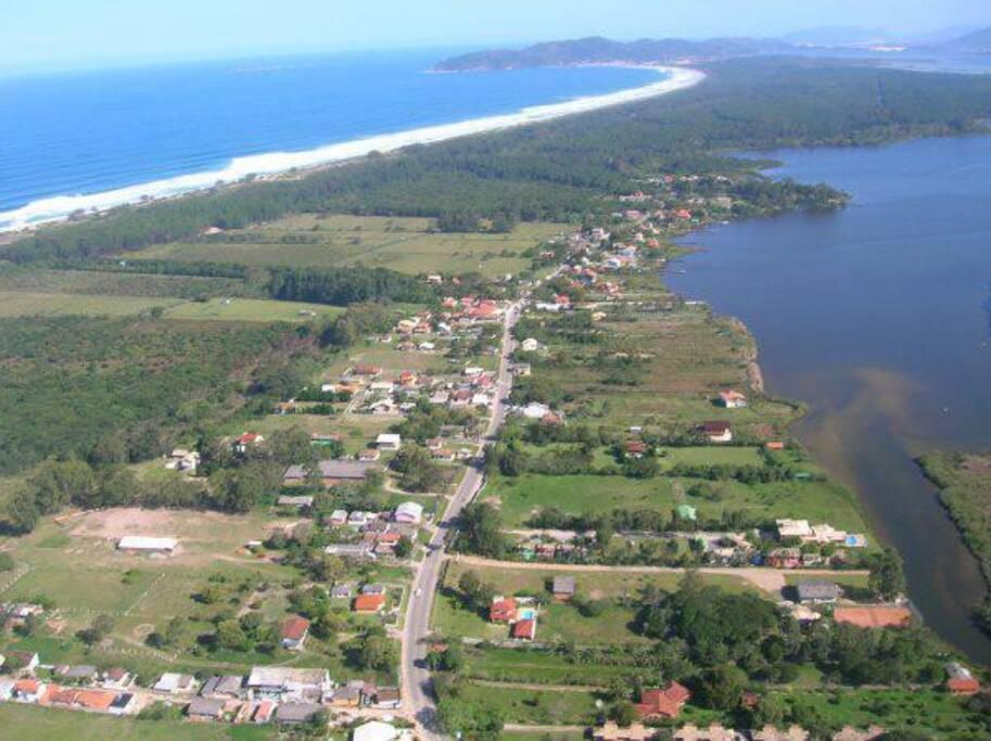 Imagem aérea da região