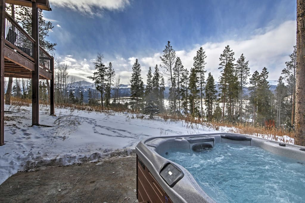 Set in the home's backyard with beautiful views, the hot tub is a relaxing way to end the day!