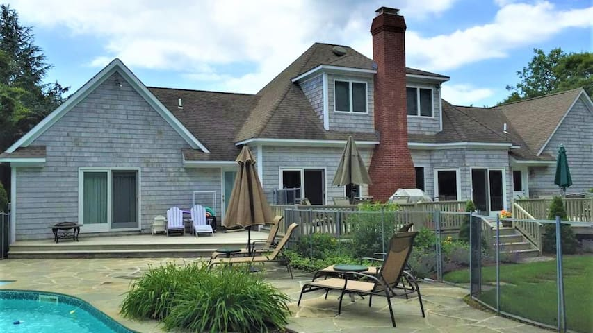 New Listing: Relaxed & Welcoming Home Near Town & Beach w/ Heated Pool, Fireplace, Play Structure