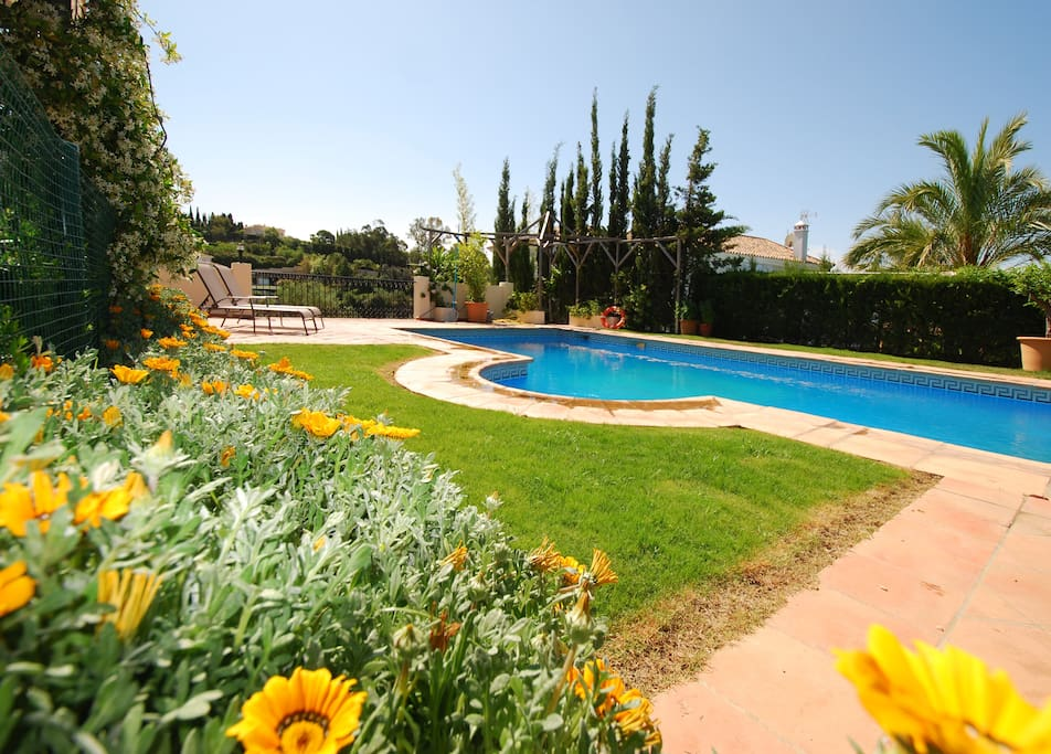The 10x5m pool is surrounded by security fences, concealed by hedges and plants.