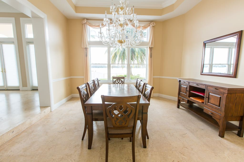 Formal dining area overlooking bay