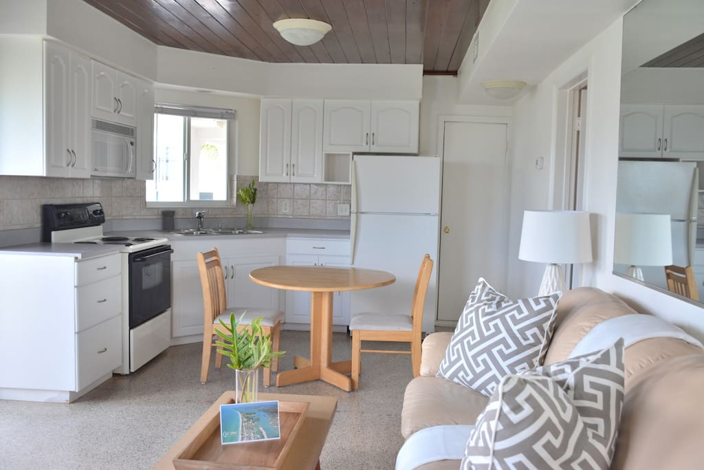 Enjoy a full kitchen with toaster and coffee maker.