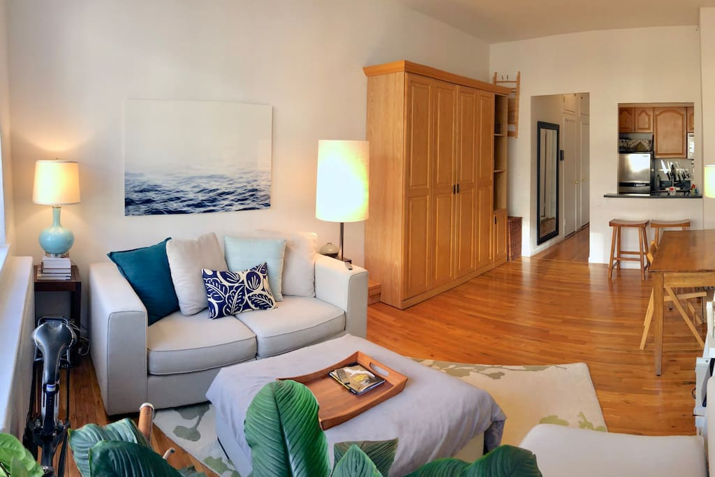 The comfortable queen-sized Murphy bed is tucked away during the day to open up the space