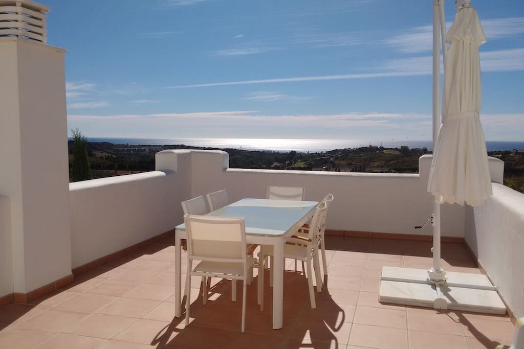 From the first terrace we have 180º views of the sea
