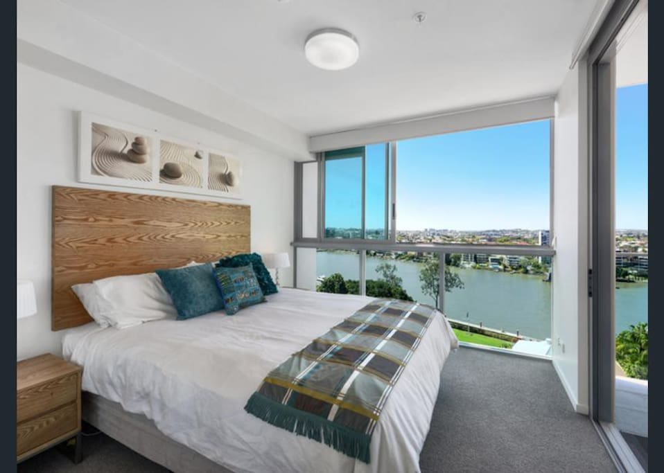 Bedroom with stunning river views
