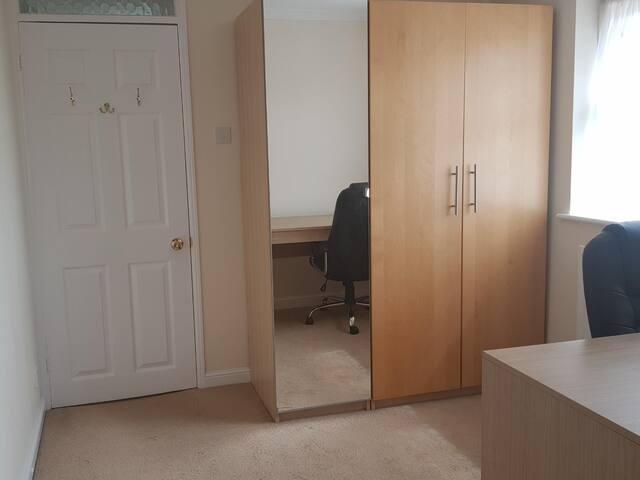 3 door wardrobe with mirror and hangers