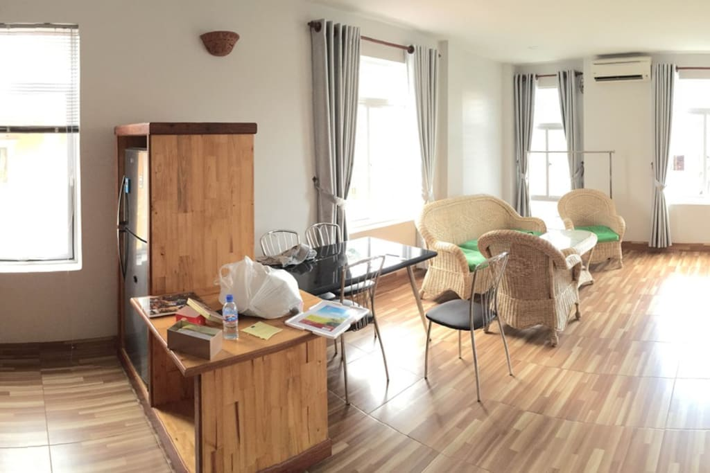 A panoramic view of the apartment. Kitchen is full equipped.