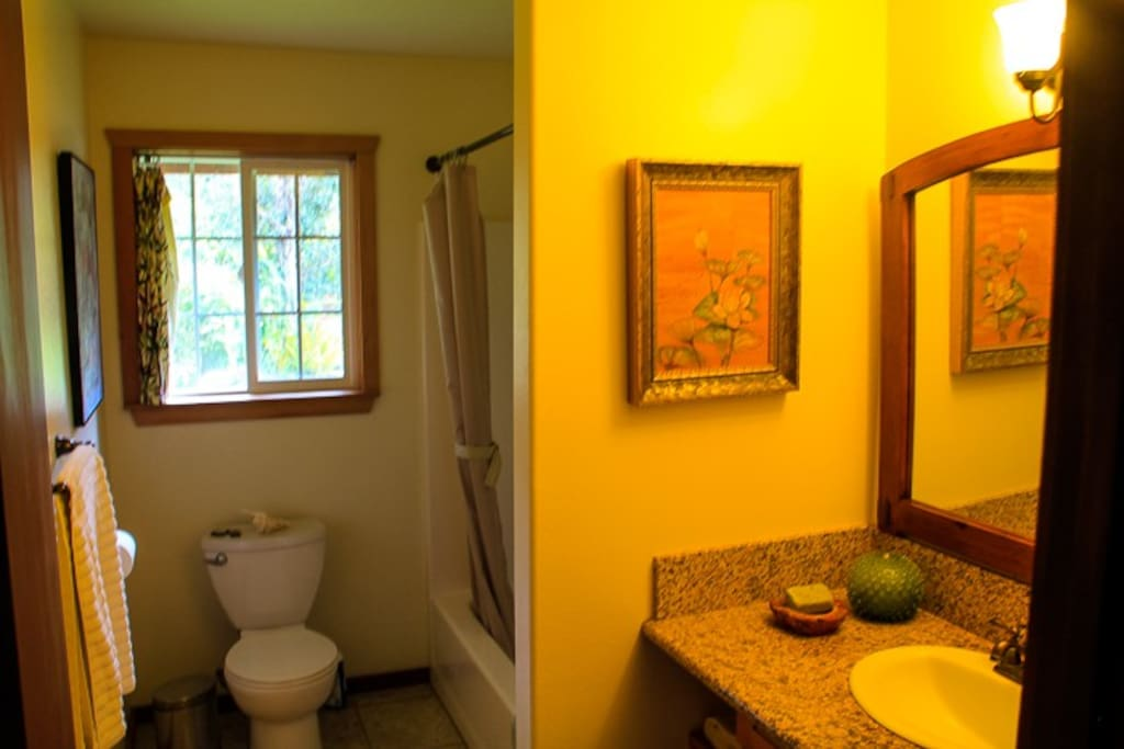 guest bathroom shared with the two rooms available