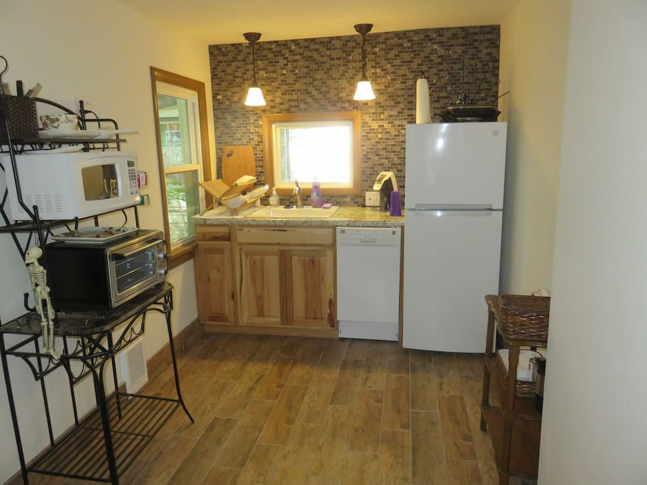 Kitchen area includes coffeemaker