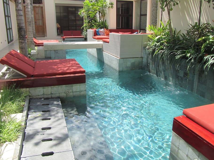 Poolside Terrace overlooks the long pool, great for laps or relaxing in.