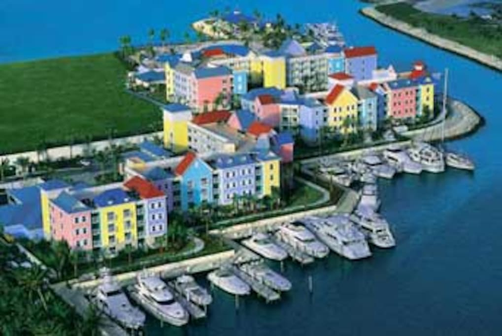 Harborside Resort and Marina, across the bay from Atlantis
