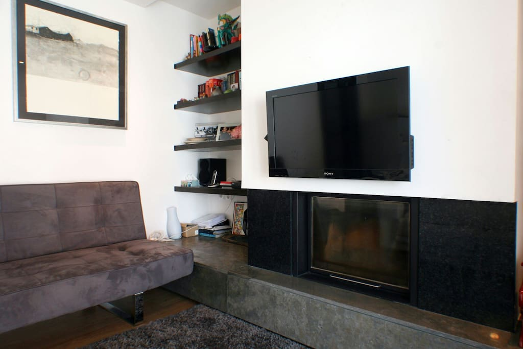 Living room fire place and tv