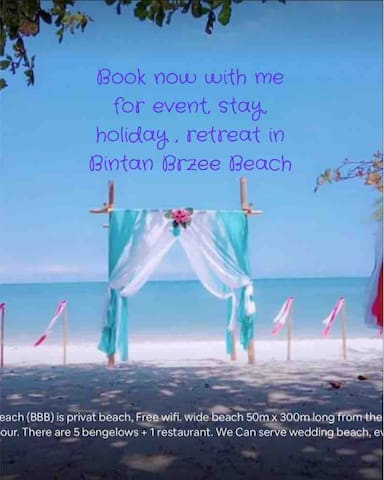 Bintan Brzee Beach is a quite privat beach 15.000m2 = wide beach 50m x 300m long from the street. We can Pick you by taxi from lagoi 1 hour. We arrange weddings beach, events, dinner at beach, barbecue, tour,  retreat, dance, long stay, guide tour