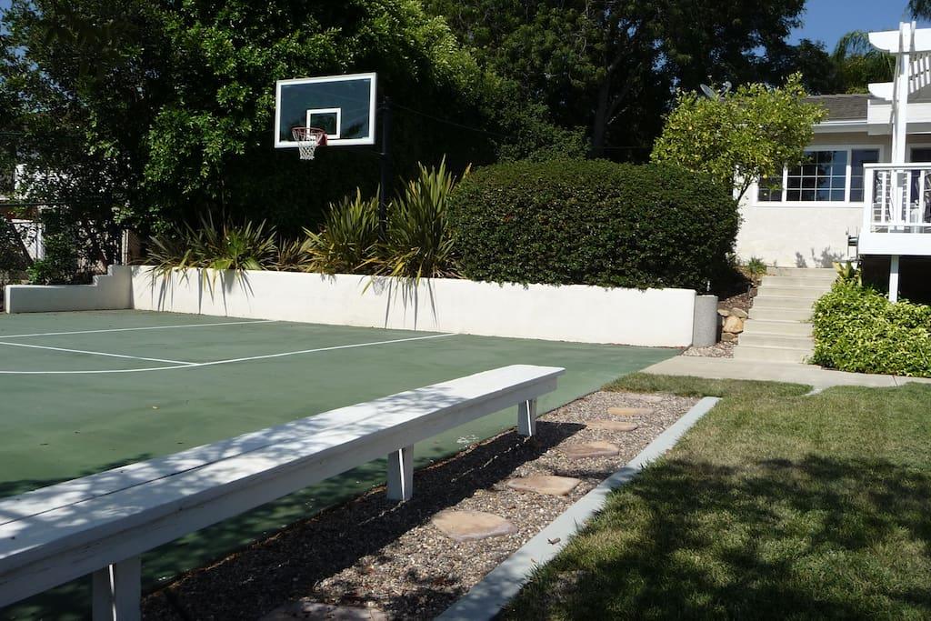 Basketball court in backyard