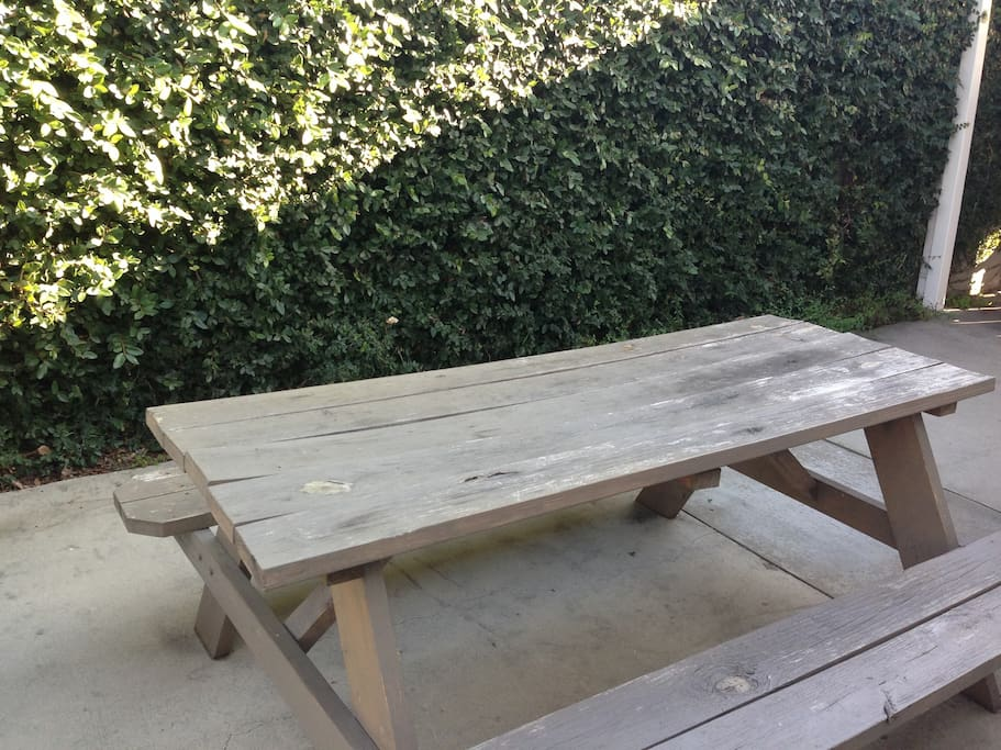 Our picnic table is one of the many options for outdoor dining