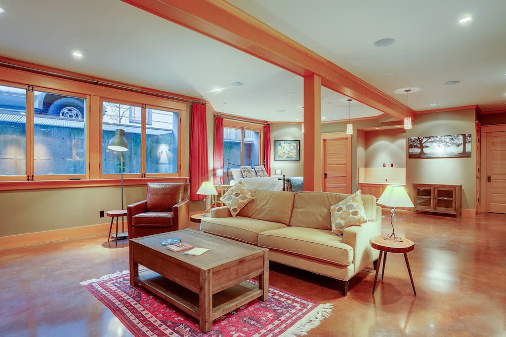 Large windows and radiant floors help keep a cozy warm space