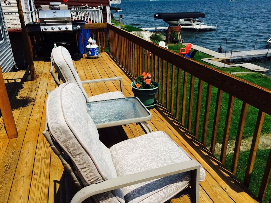 Lower deck is across entire rear and side of house.  Lots of places to enjoy the sun.  There is also a covered portion if you need to cool off