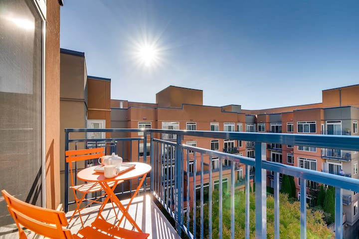 Enjoy a cup of coffee on your balcony with park-like courtyard views