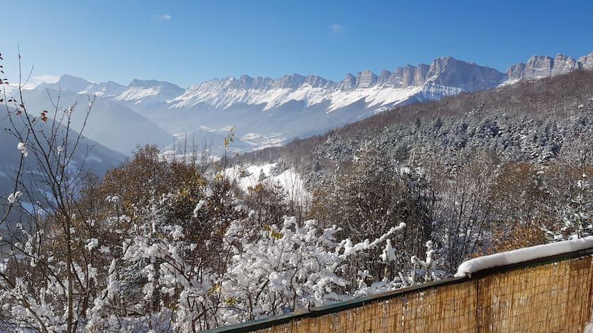 Vue hivernale depuis la terrasse