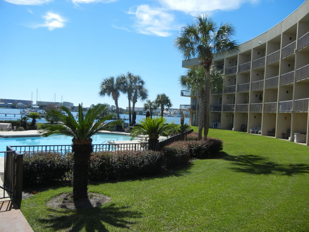 Our cozy condo overlooks Santa Rosa Sound, with beautiful private grounds and a great swimming pool.