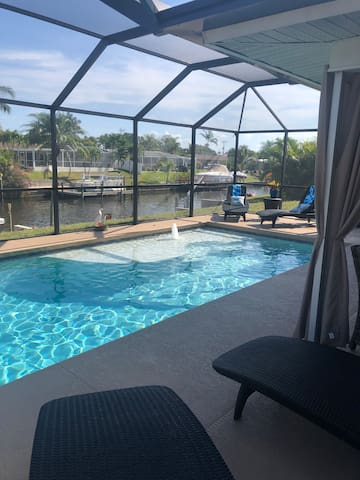 Cape Coral  gulf access Canal and pool home
