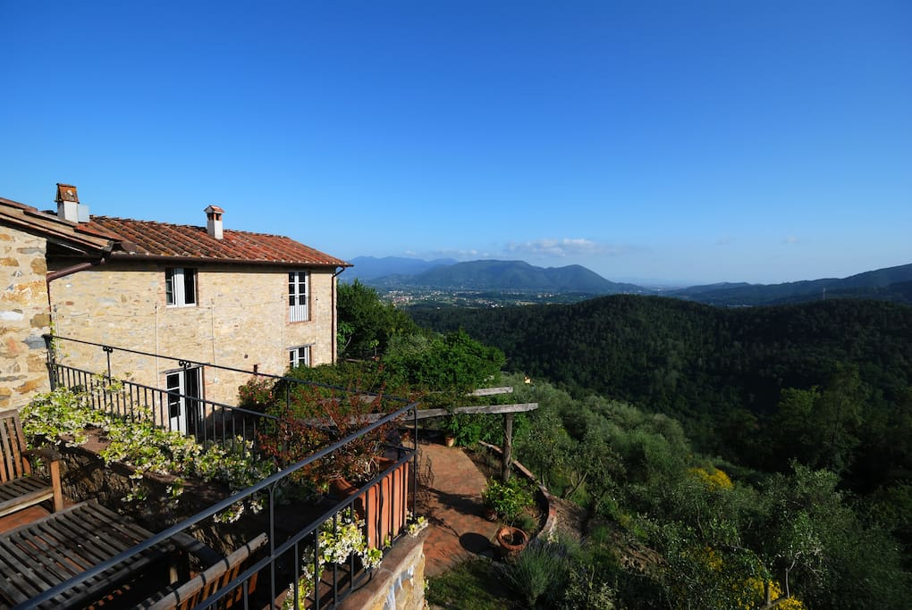 The villa and its absolutely stunning view over the plain of Lucca to the Leaning Tower of Pisa and distant Elba