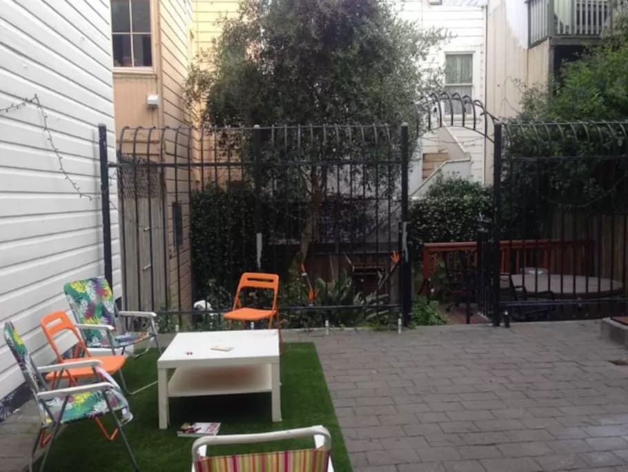 Huge backyard (goes beyond black gate)