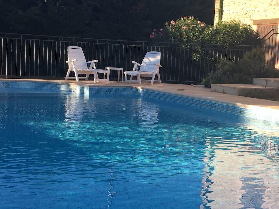 Large swimming pool 11m x 5m (depth from 1m-2m).
