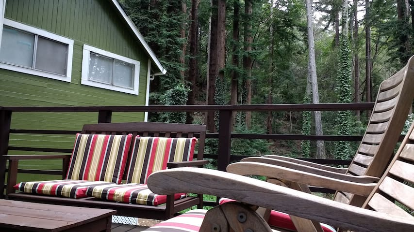 The Green Cabin In Towering Redwoods