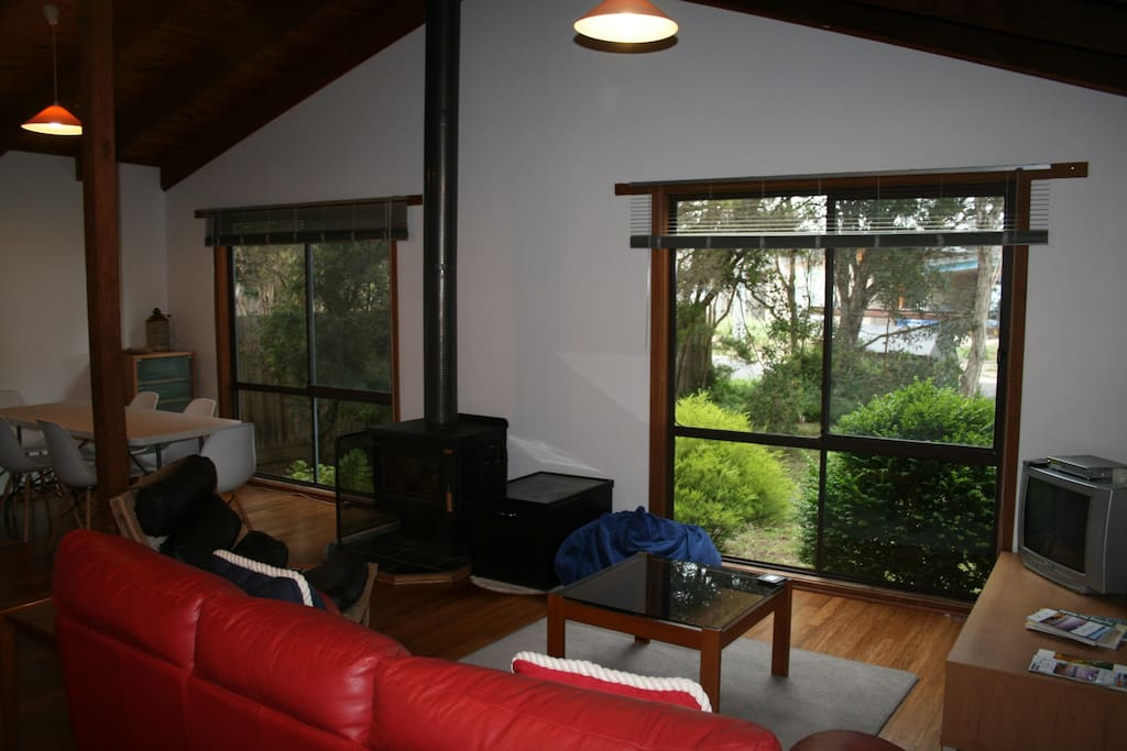 Living area. Get the wood fire going , wood supplied and stay cozy and warm playing the board games available