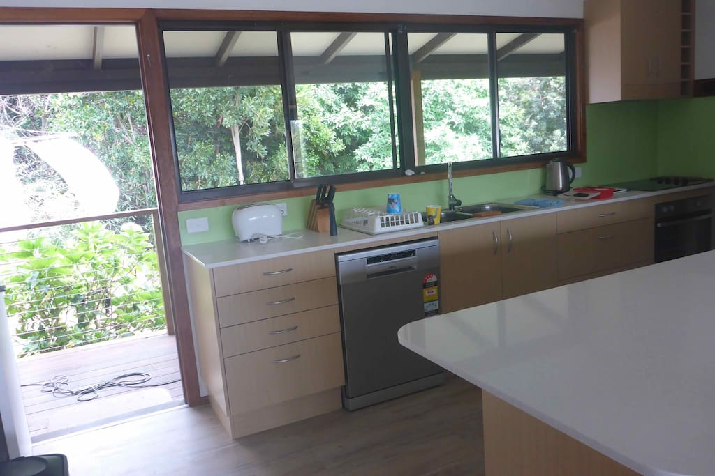 Kitchen and view into back garden