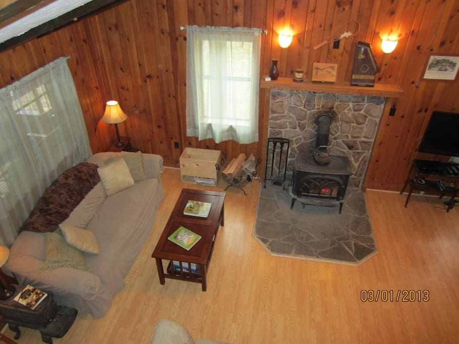 View of living room from the loft.