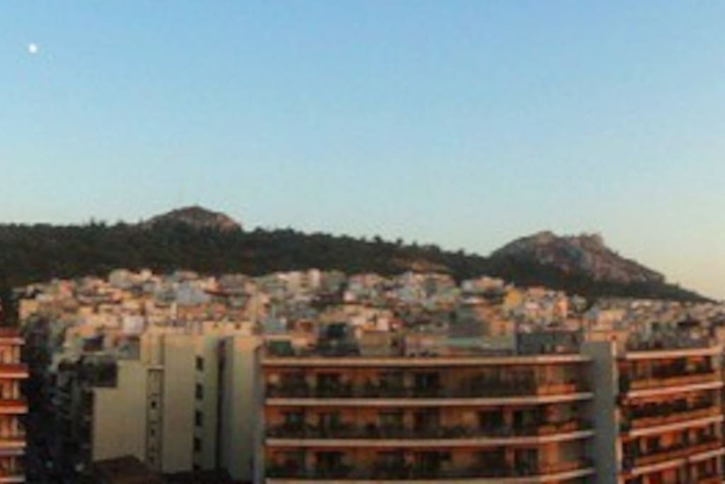 The open view from the terrace including Lycabettus hill