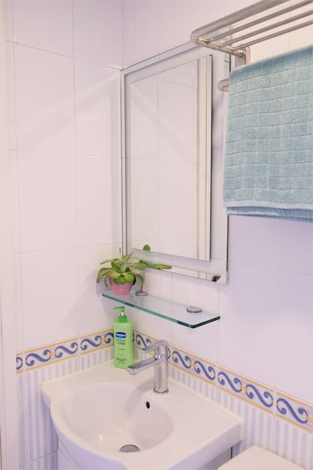 Clean and bright bathroom, towels provided