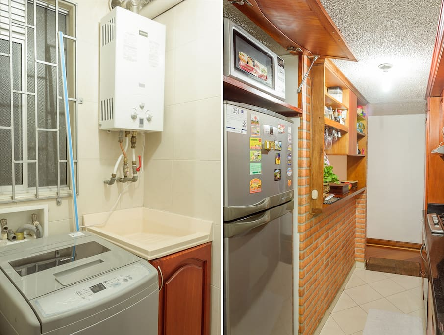 The kitchen has a full refridgerator, microwave and a small bar to enjoy some down time. Too you will find washing/dryer machine and space for hanging clothes.