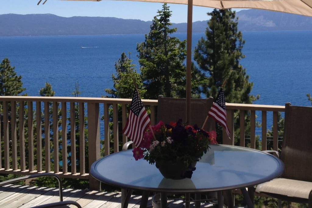 On cabin deck overlooking spectacular Lake Tahoe